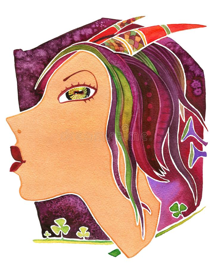 Capricorn-girl. Face girl as astrology symbol Capricorn. Face girl as astrology symbol Capricorn on pattern background royalty free stock image