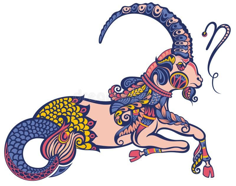 capricorn grafika projekta znaka symboli/l?w dwana?cie r??norodny zodiak Astrologiczny, horoskopu symbol ilustracja wektor