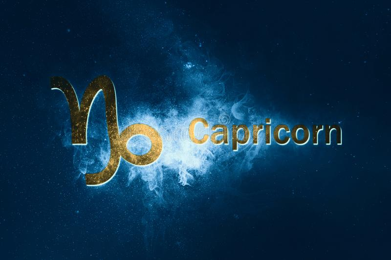 Capricorn Horoscope Sign. Abstract night sky background. Horoscope Symbol and Text royalty free illustration