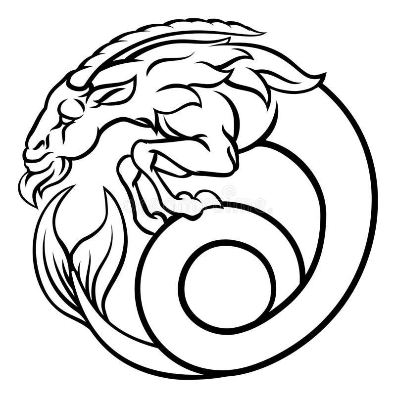 capricorn podpisuje zodiaka ilustracja wektor