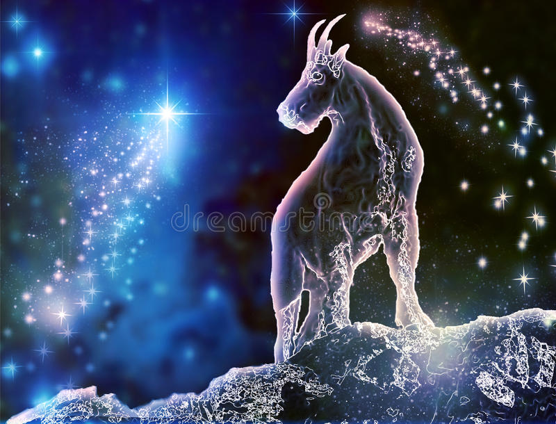 Capricorn Sea-Goat. Goat is a mystical zodiac animal. Capricorn is the most stubborn sign. Feel the difference between astronomy and astrology vector illustration
