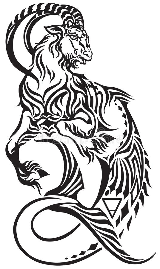 Capricorn Sign Black And White Tribal Tattoo Stock Vector ...