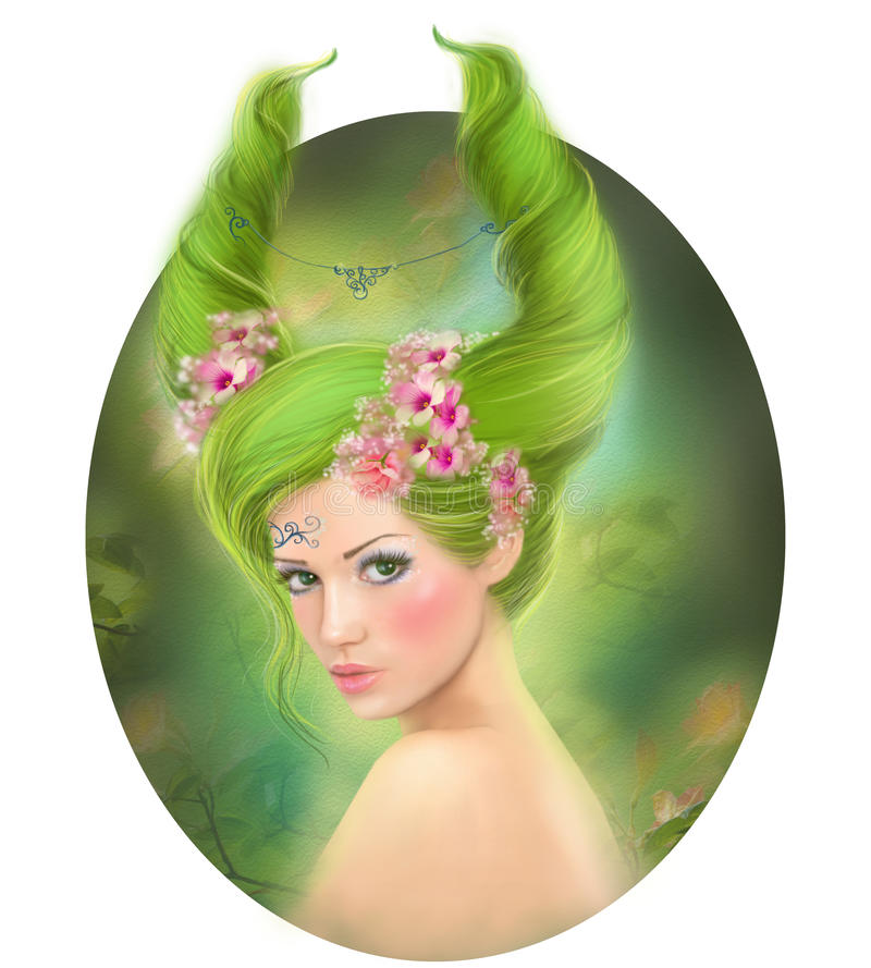 Capricorn fantasy zodiac beautiful fantasy girl. Illustration of capricorn astrological woman royalty free illustration