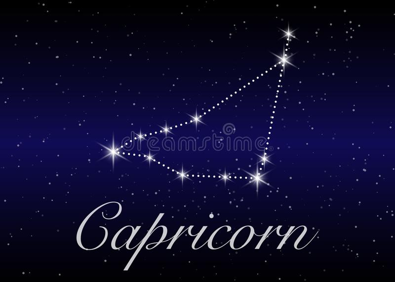 Capricorn zodiac constellations sign on beautiful starry sky with galaxy and space behind. Goat horoscope symbol constellation. On deep cosmos background vector illustration