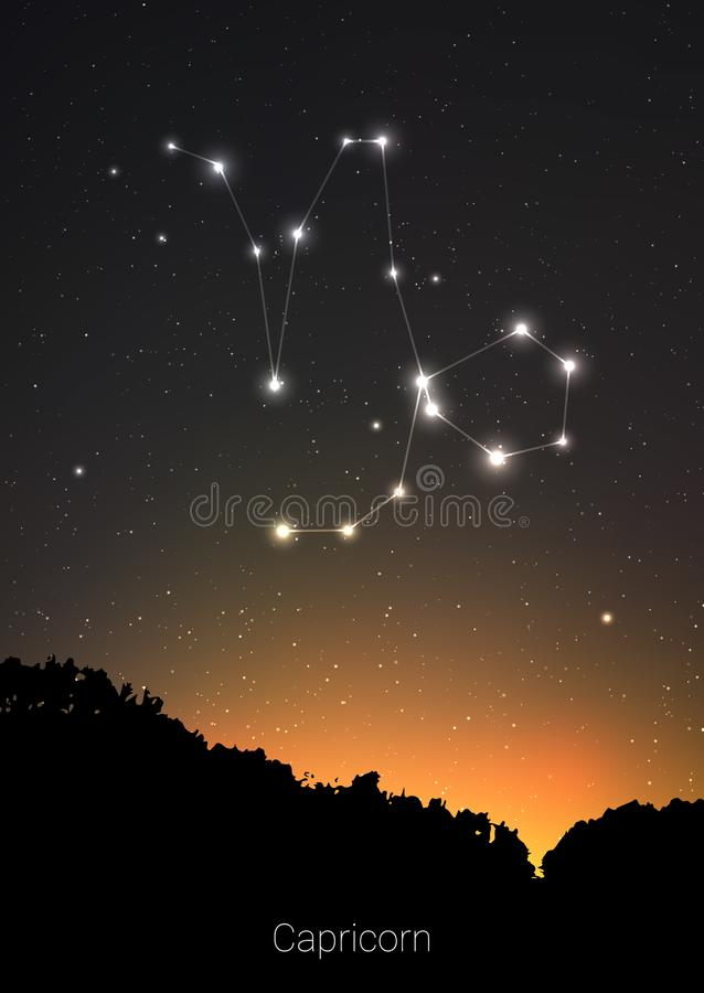 Capricorn zodiac constellations sign with forest landscape silhouette on beautiful starry sky with galaxy and space stock illustration