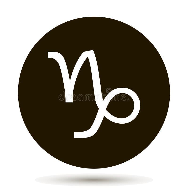 Capricorn zodiac sign. Astrological symbol icon in circle. stock illustration