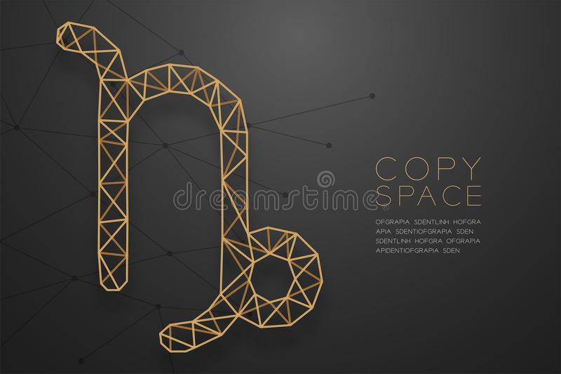 Capricorn Zodiac sign wireframe Polygon golden frame structure, Fortune teller concept design illustration. Isolated on black gradient background with copy vector illustration