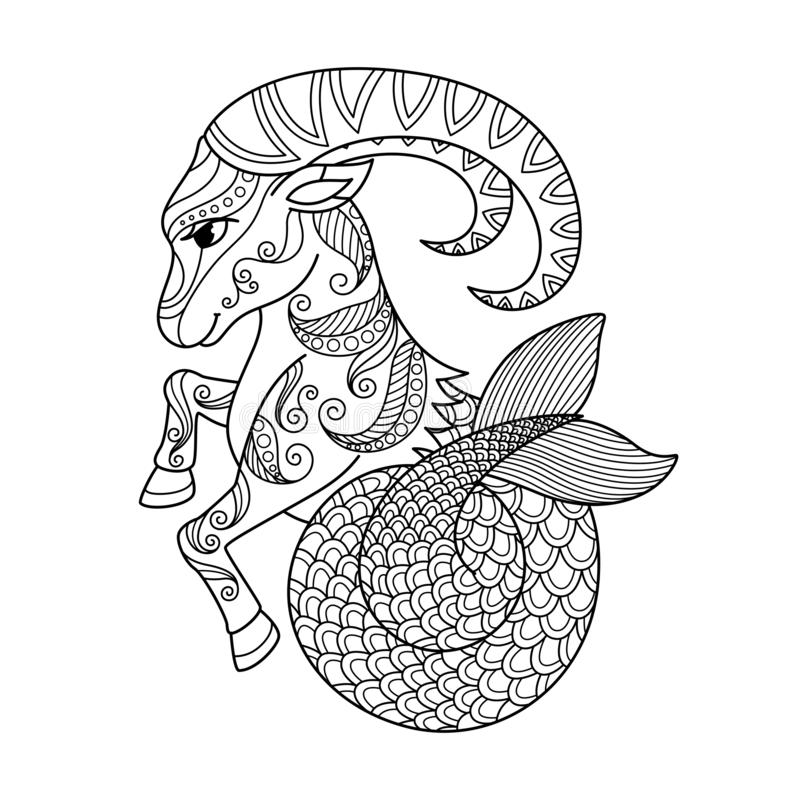 - Capricorn Zodiac Sign. Zentangle Coloring Book Page For Adult Stock  Illustration - Illustration Of Horoscope, Design: 146396105