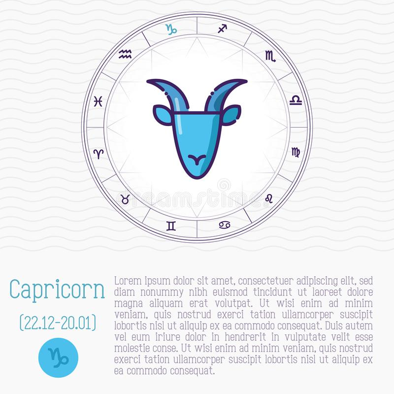 Capricorn in zodiac wheel, horoscope chart. With place for text. Thin line vector illustration royalty free illustration