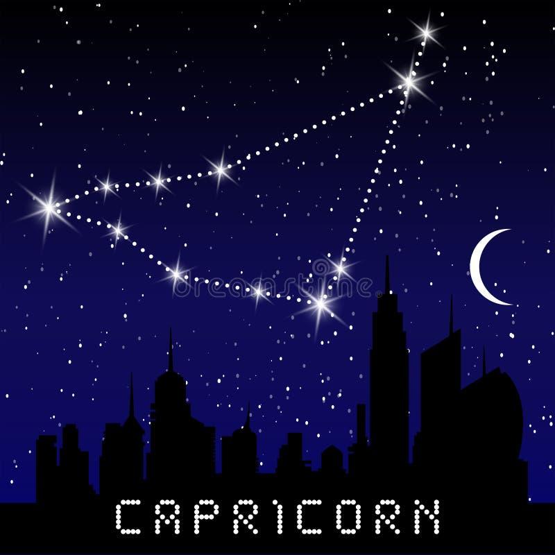 Capricorn zodiaka gwiazdozbiory podpisują na pięknym gwiaździstym niebie z galaxy i interliniują behind Koźli horoskopu symbolu g royalty ilustracja