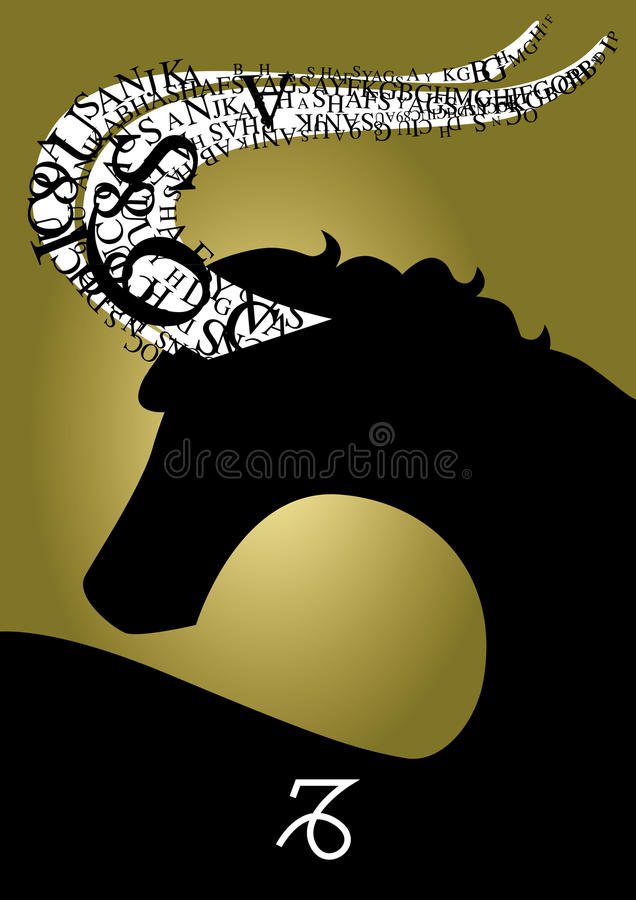 Capricorne de signe de zodiaque illustration de vecteur