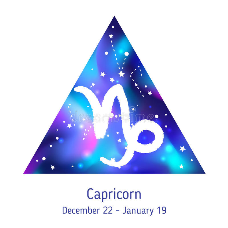 Capricorne de signe de zodiaque au-dessus de triangle de hippie avec l'espace galactique illustration stock