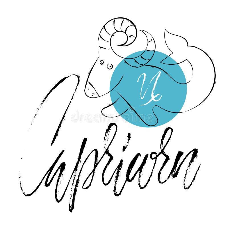 Capricornio astrológico dibujado mano de la muestra del zodiaco Ilustración del vector Símbolo del horóscopo Letras manuscritas d ilustración del vector
