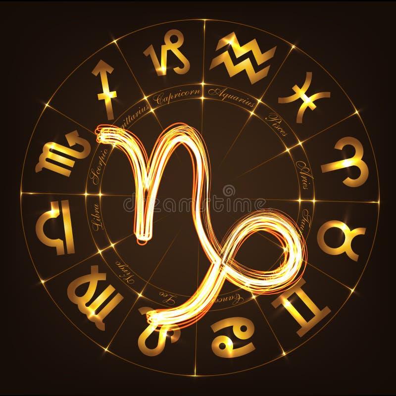 Capricornio de la muestra del zodiaco stock de ilustración