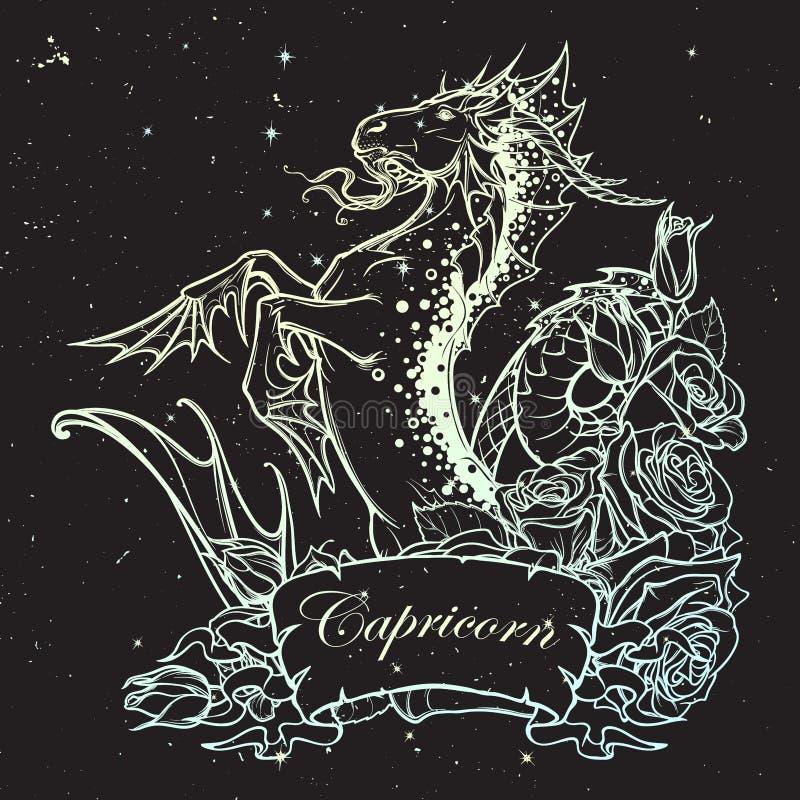 Capricornio de la muestra del zodiaco Bosquejo de BW stock de ilustración