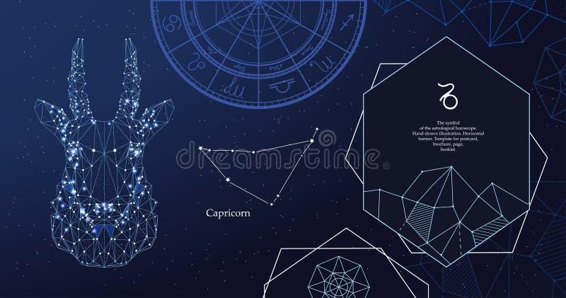 Capricornio de la muestra del zodiaco El símbolo del horóscopo astrológico Bandera horizontal ilustración del vector