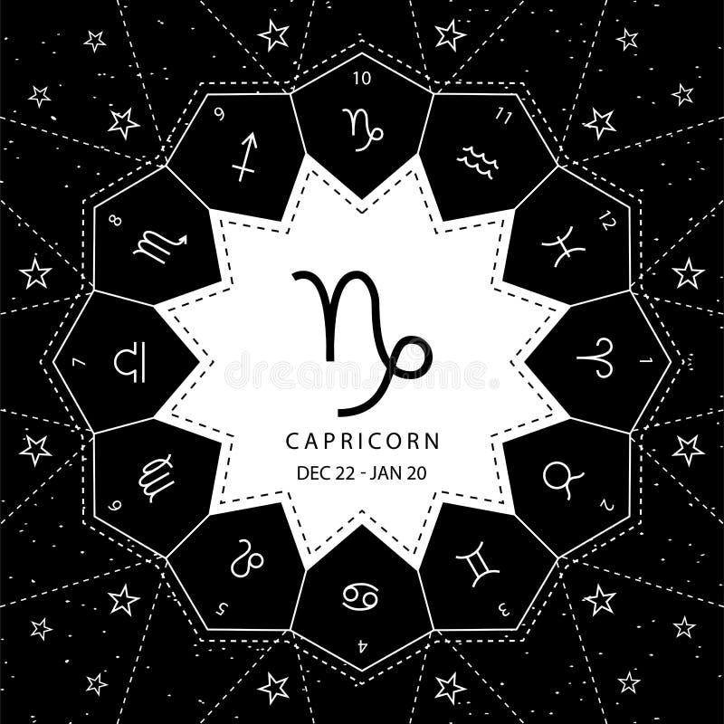 capricornio Las muestras del zodiaco resumen el vector del estilo fijado en fondo del cielo de la estrella libre illustration