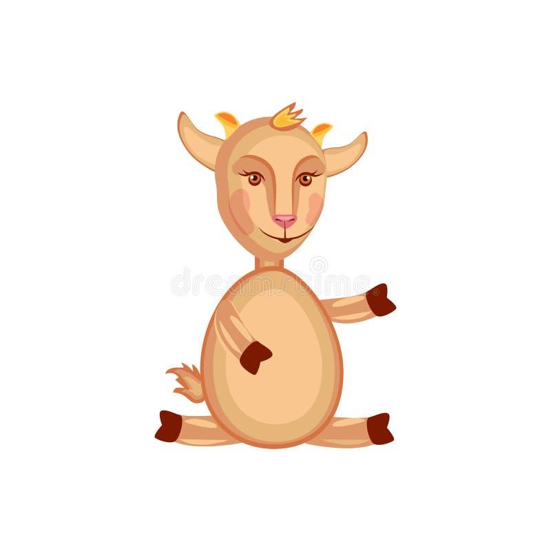 Capricornio lindo del vector de la historieta, cabra, sentada del animal doméstico del niño aislada en blanco, mamífero del granj libre illustration