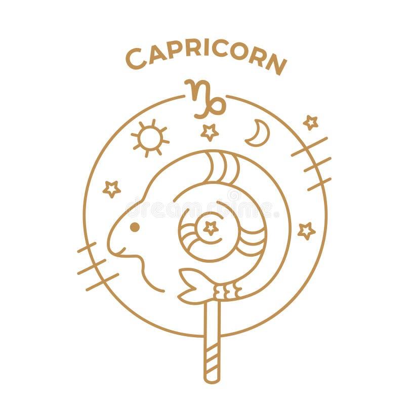 Capricornio, logotipo o ejemplo de la muestra del zodiaco del vector ilustración del vector