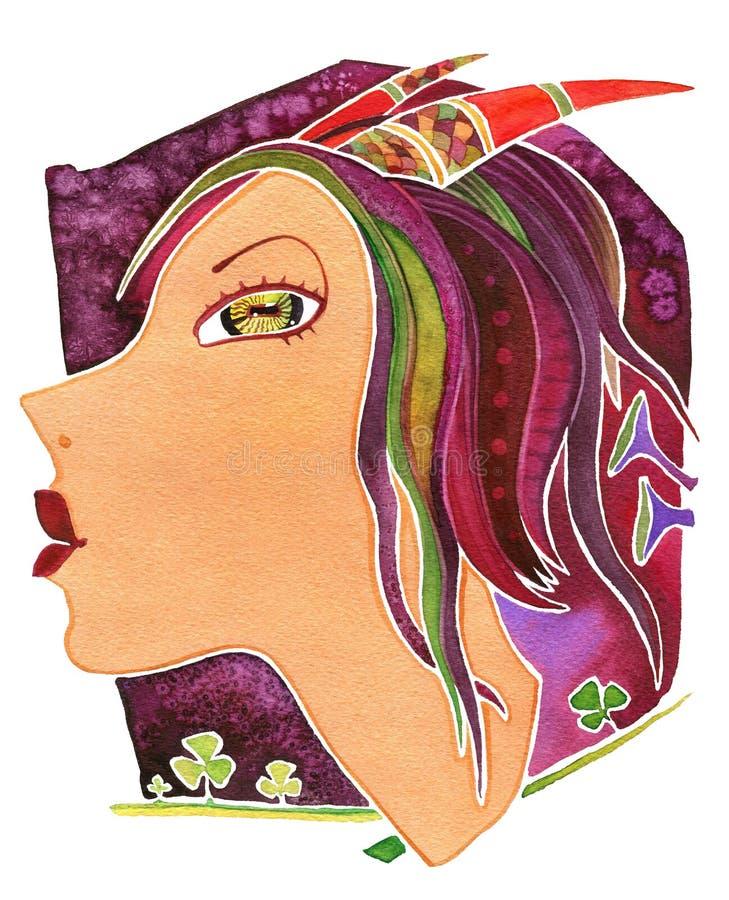 Capricornio-muchacha Muchacha de la cara como Capricornio del símbolo de la astrología imagen de archivo libre de regalías