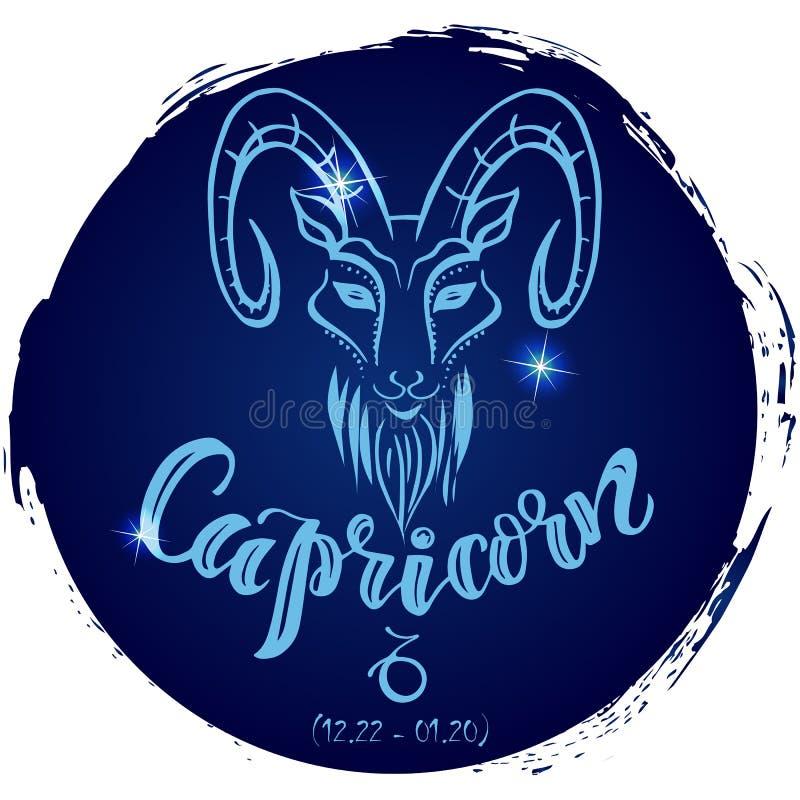 Capricornio redondo de la muestra del zodiaco stock de ilustración