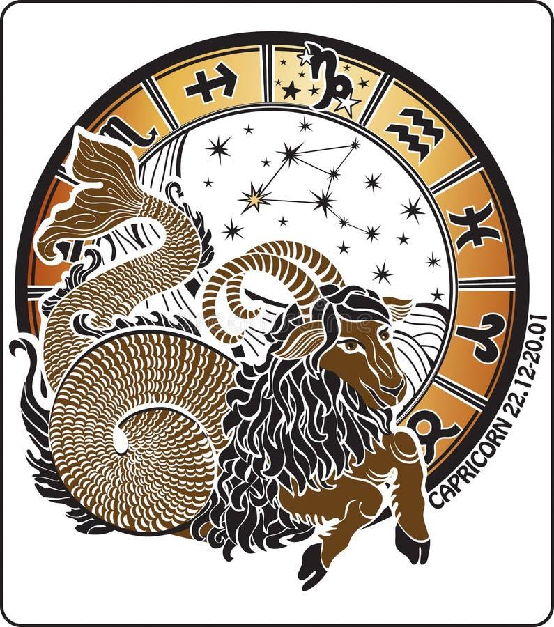 Capricornio y la muestra del zodiaco. Círculo del horóscopo. Vector stock de ilustración