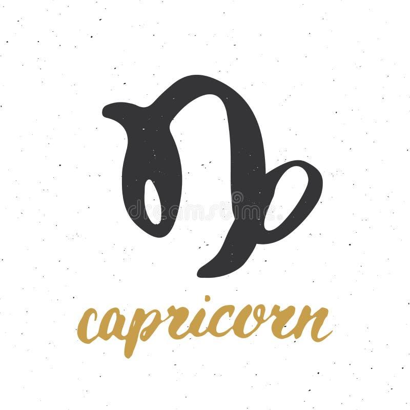 Capricornio y letras de la muestra del zodiaco Dé el símbolo exhausto de la astrología del horóscopo, diseño texturizado grunge,  ilustración del vector
