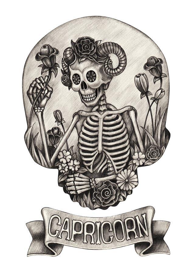 Capricorno del cranio dello zodiaco Disegno della mano sul documento illustrazione di stock