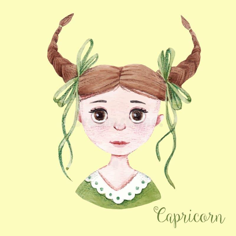 Capricorno del segno dell'oroscopo dell'acquerello royalty illustrazione gratis