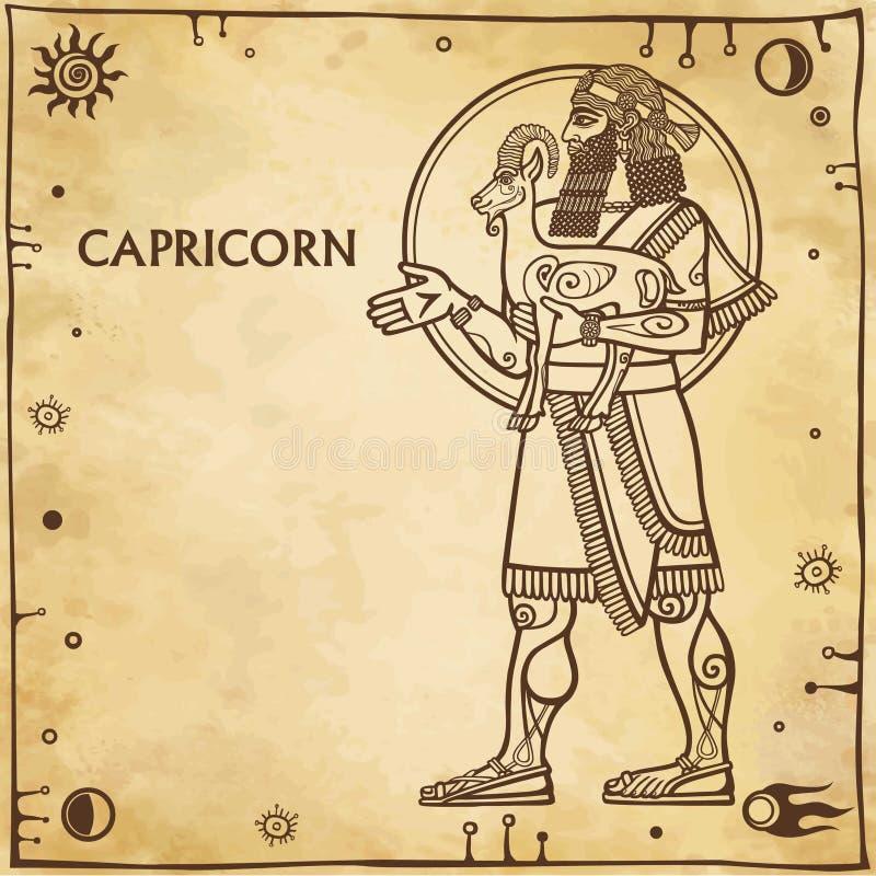 Capricorno del segno dello zodiaco illustrazione di stock