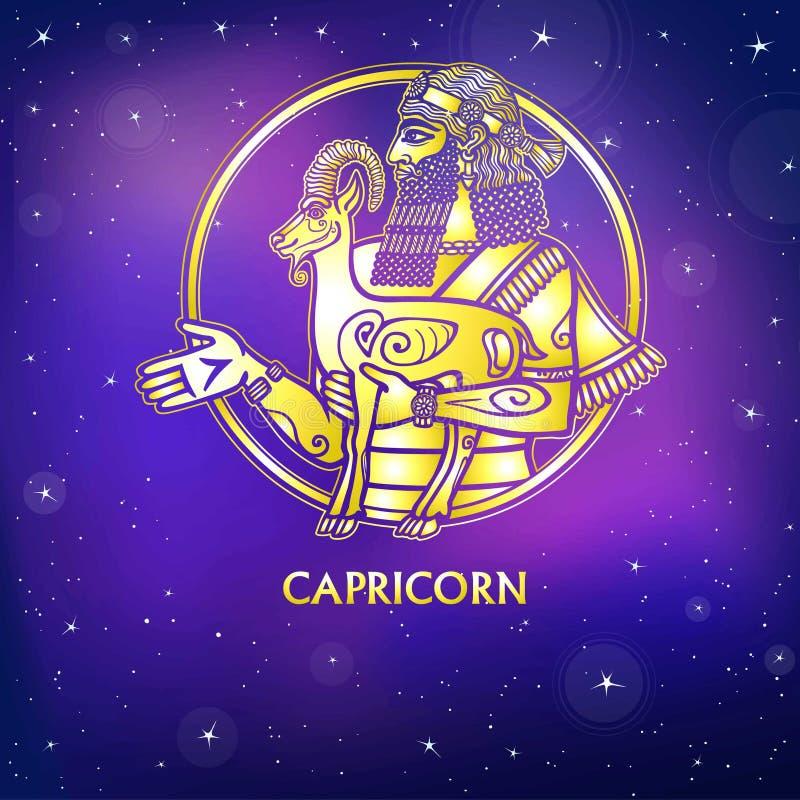 Capricorno del segno dello zodiaco Carattere di mitologia sumerica Imitazione dell'oro royalty illustrazione gratis