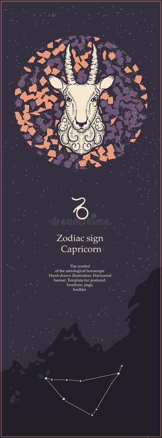 Capricorno del segno dello zodiaco Il simbolo dell'oroscopo astrologico Fronte delle donne disegnate a mano di illustration Inseg royalty illustrazione gratis