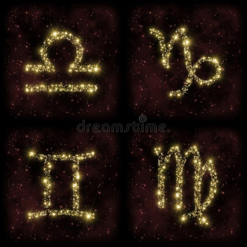 Capricorno Gemini Virgo Stars della Bilancia dello zodiaco illustrazione vettoriale