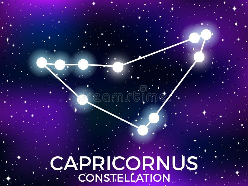 Capricornus constellation. Starry night sky. Cluster of stars and galaxies. Deep space. Vector. Illustration stock illustration