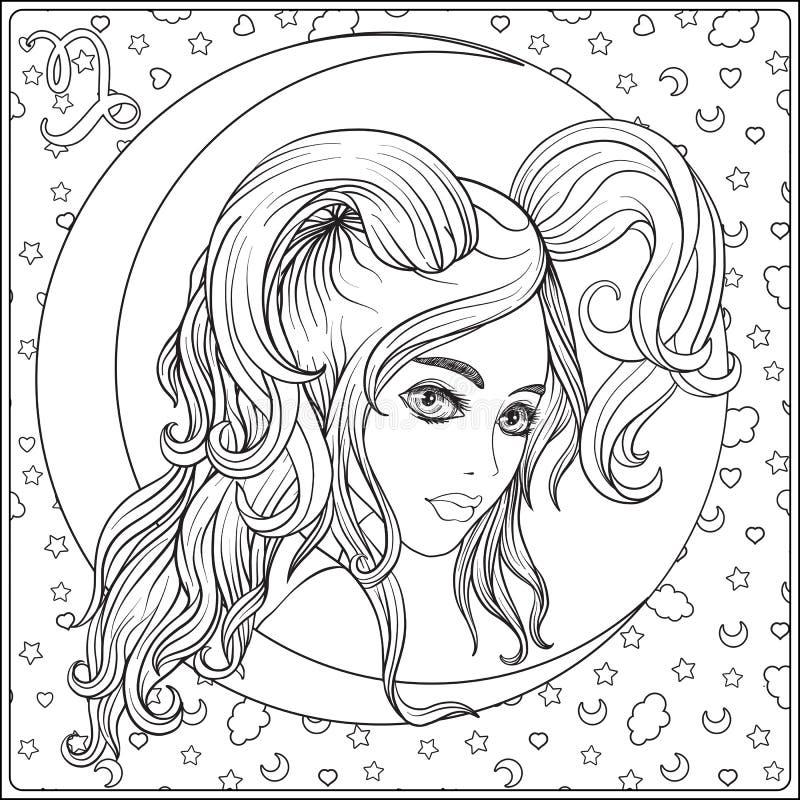Capricornus Une jeune belle fille sous forme d'une illustration libre de droits