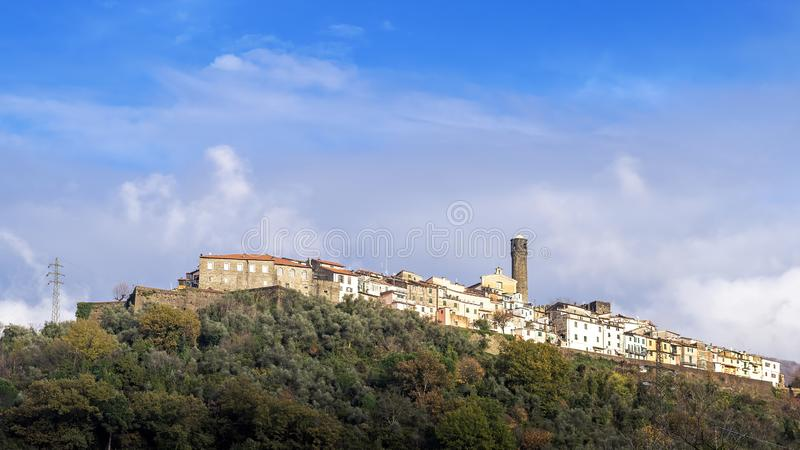 Caprigliola near Aulla, Massa Carrara, Italy, medieval hilltop village in autumn sunshine. Lunigiana. Caprigliola near Aulla, Massa Carrara, Italy, medieval stock photography