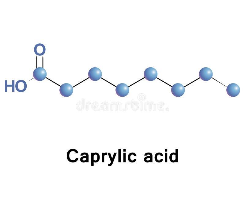 Caprylic zuur is een verzadigd vetzuur stock illustratie
