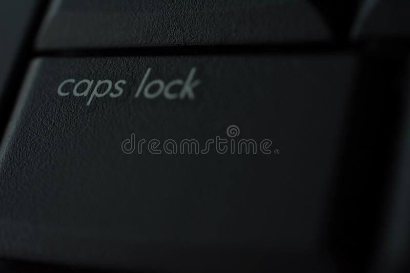 Caps lock button on keybord. Blackground pc computer back button texture white stock photography