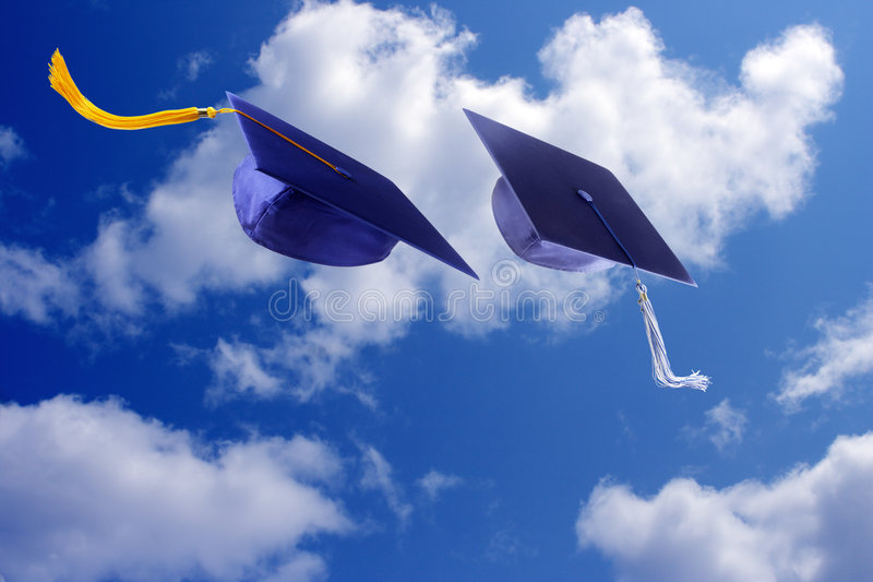 Download Caps and Sky stock photo. Image of college, commencement - 5255030