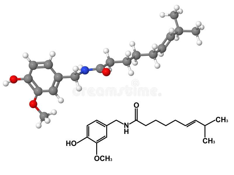 capsaicin χημικό μόριο τύπου απεικόνιση αποθεμάτων