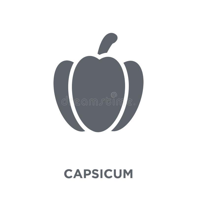 Capsicum ikona od rolnictwa Uprawia ziemię kolekcję i Uprawia ogródek, ilustracji