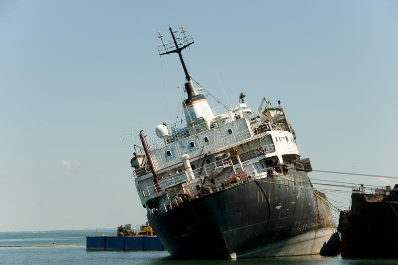 Capsized Ship - Beauharnois - Canada stock photography