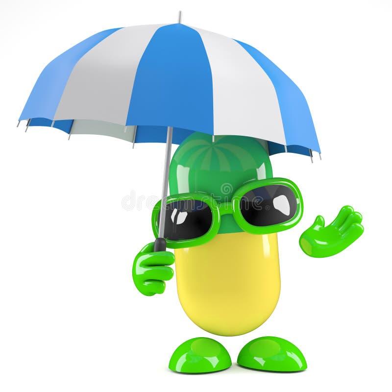 capsula della medicina 3d che tiene un ombrello illustrazione di stock