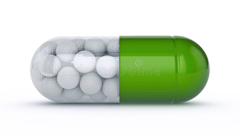 Capsule avec des boules de golf images stock