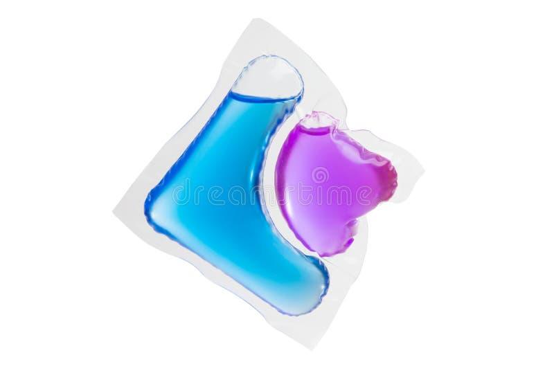 Capsule avec le gel pour laver d'isolement photo stock