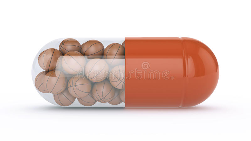 Capsule with basket balls. Design made in 3D royalty free illustration