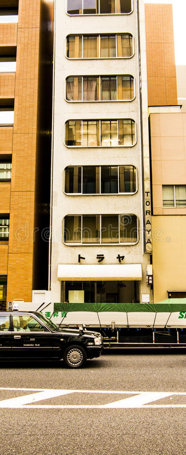 Capsule building in Tokyo royalty free stock photography