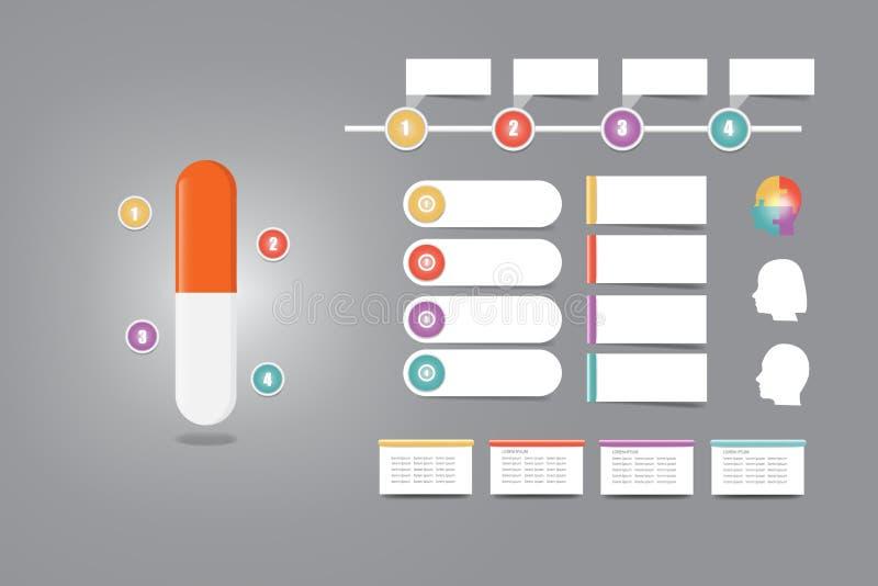 Capsule d'apparence de vecteur d'Infographic de la drogue ou de la vitamine illustration de vecteur