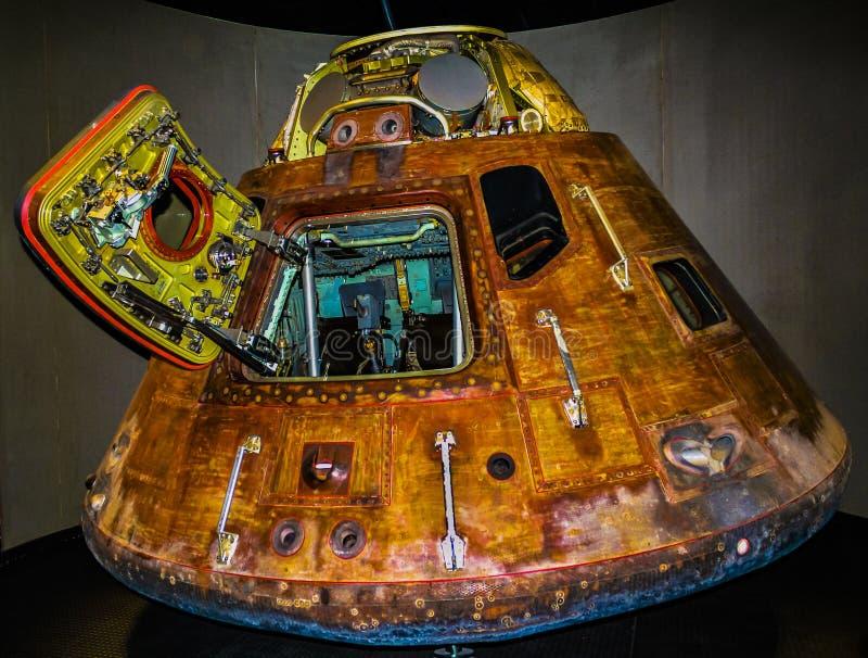 Capsule d'espace d'Apollo 13 au centre d'espace de Kennedy Cap Canaveral la Floride Etats-Unis image libre de droits