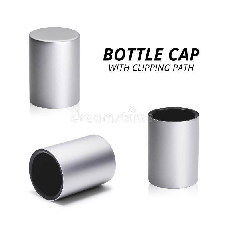 Capsule de parfum d'isolement sur le fond blanc Groupe de couvercle de conception moderne Objet de chemin de coupure illustration stock